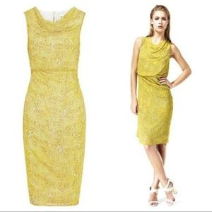 Reiss Dress Silk Karina Mosaic Yellow Dress 8 M